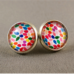 Stud Earrings - Colourful Speckles Glass Cabochon
