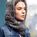 Grey hooded cowl scoodie hooded scarf möbius infinity hood