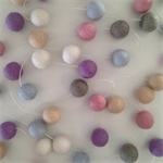 Felt Ball Garland Misty in Light Pink, Sand, White, Taupe, Light Blue, Lilac