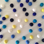 Felt Ball Garland in White, Yellow, Bright Blue, Blue, Cobalt, Navy