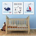 Custom Baby Birth Print Set of 3 Announcement Nursery Wall Art