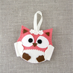 Lavender owl, sachet, felt, watermelon red, cream, ribbon