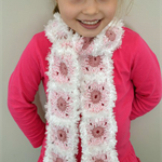 Pink & White Patches scarf 4 kids