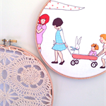 Hoop Art for kids babies rooms & nursery's. Vintage doiley design 2 piece