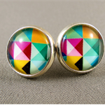 Stud Earrings - Squares and Triangles Geometric Glass Cabochon