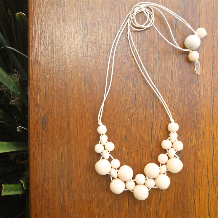 resin bead all ivory mini bubble ball necklace NEW | Strat Designs