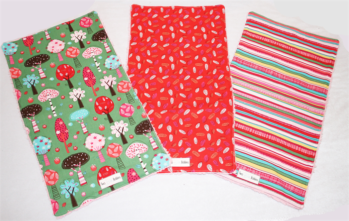 Set of three 3 burp cloths cute baby girl print fabric for Cute baby fabric prints