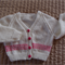 SIZE 1-2 yrs (+) - Hand knitted cardigan in white & bright pink by CuddleCorner