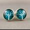 Stud Earrings - Tree of Birds Glass Cabochon