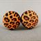 Stud Earrings - Leopard Print Wooden