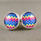 Stud Earrings - Colourful Thick Chevron Glass Cabochon
