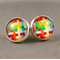 Stud Earrings - Colourful Lines Glass Cabochon