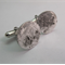Reticulated sterling silver textured disc cufflinks