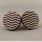 Stud Earrings - Black and White Chevron Round Wooden