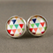 Stud Earrings - Colourful Triangles Glass Cabochon