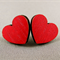 Stud Earrings - Red Wooden Heart