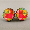 Stud Earrings - Bright Geometric Explosion Wooden