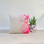 Cushion Cover, Pillow Cover, Throw Pillow - Neon Pink Pineapple – 40x40cm