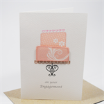 Engagement Card - 2 Tier Cake Pink - ENG008 Handmade Congratulations
