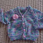 SIZE 1 -  2 years; knitted cardigan, pastle blue, pink, green, girl, washable