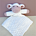 Hand Knitted Lambie Mini Lovey/Blankie, Hand Knitted Lamb Security Blanket