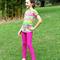 Magenta Frilled Girl's Leggings Size 7-12