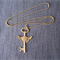 Winged Key Necklace Antique Bronze (Steampunk Style)