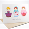 Birthday Card Female - 3 Babushka Dolls - Russian Dolls - HBF078