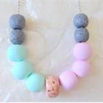 Save $10! Pastel Clay Necklace Pink, Mint, Grey Cement, Peach w/ Gold Fragment