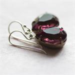 Amethyst Vintage Glass Jewel Earrings