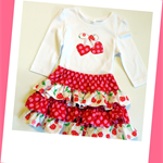 MaisyMoo Designs - Cherry Ruffle Ra-Ra Set - Sizes: 0 - 4yrs