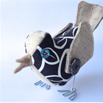 Fabric bird ornament - chocolate and cream:  Free-standing