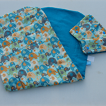 Water elephant pattern universal pram liner with matching seatbelt covers