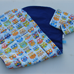 Boys owl pattern universal pram liner with matching seatbelt covers