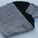Black Chevron pattern universal pram liner with matching seatbelt covers