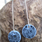 Ink & Polymer Clay Patterned Blue Dangle Earrings