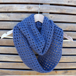 Dove grey infinity crochet scarf