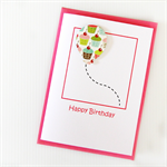 FREE POST birthday card balloon cupcakes handmade
