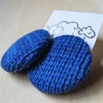 Knit Earrings - Royal Blue Wool