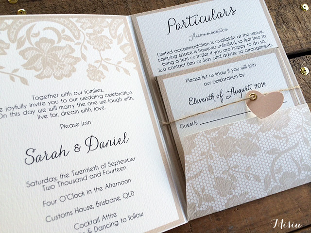 Photo Pocket Wedding Invitations: Lace Pocket Fold Wedding Invitations