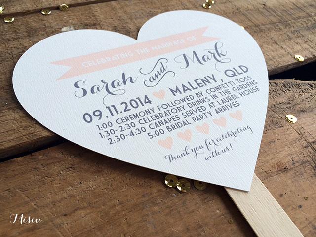 Diy Heart Fan Wedding Program Paper Kit