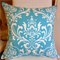 White and Aqua damask Cushion
