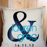 Personalised ampersand couple names and date pillow - perfect wedding gift