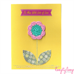 Mother's Day flower card. crochet, sewn, thread, fabric