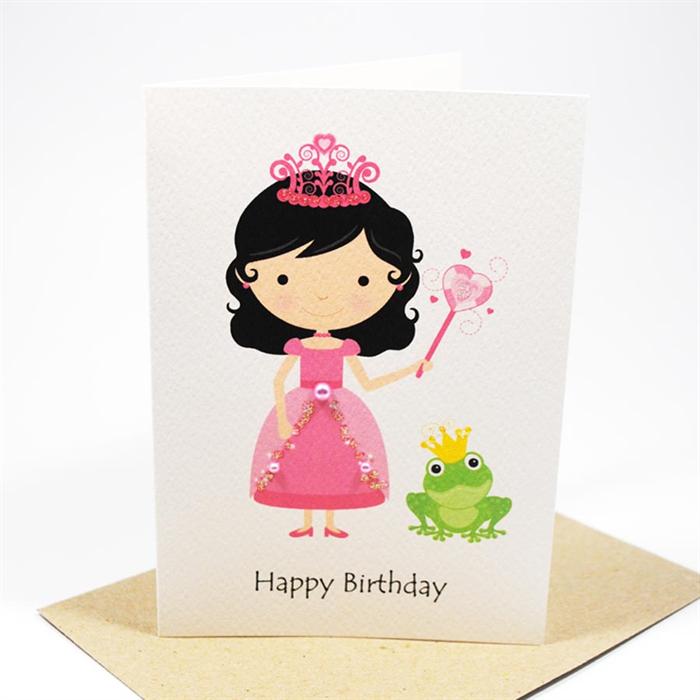 Happy Birthday Card Girl Princess and a Frog HBC102 – Happy Birthday Princess Card