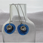 Freeform earrings made from recycled wine bottle.