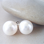 Large White Swarovski pearl, Sterling Silver, stud earring