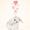 Bunny & Hearts 8x10 Print Baby Girl Nursery