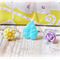 Agnieszka Children's Ring Set Flower Trio Cream Yellow Mint Green Lilac Girls