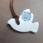 White Polymer Clay Bird Necklace